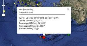 Σεισμός 4,4 ρίχτερ νότια της Κρήτης
